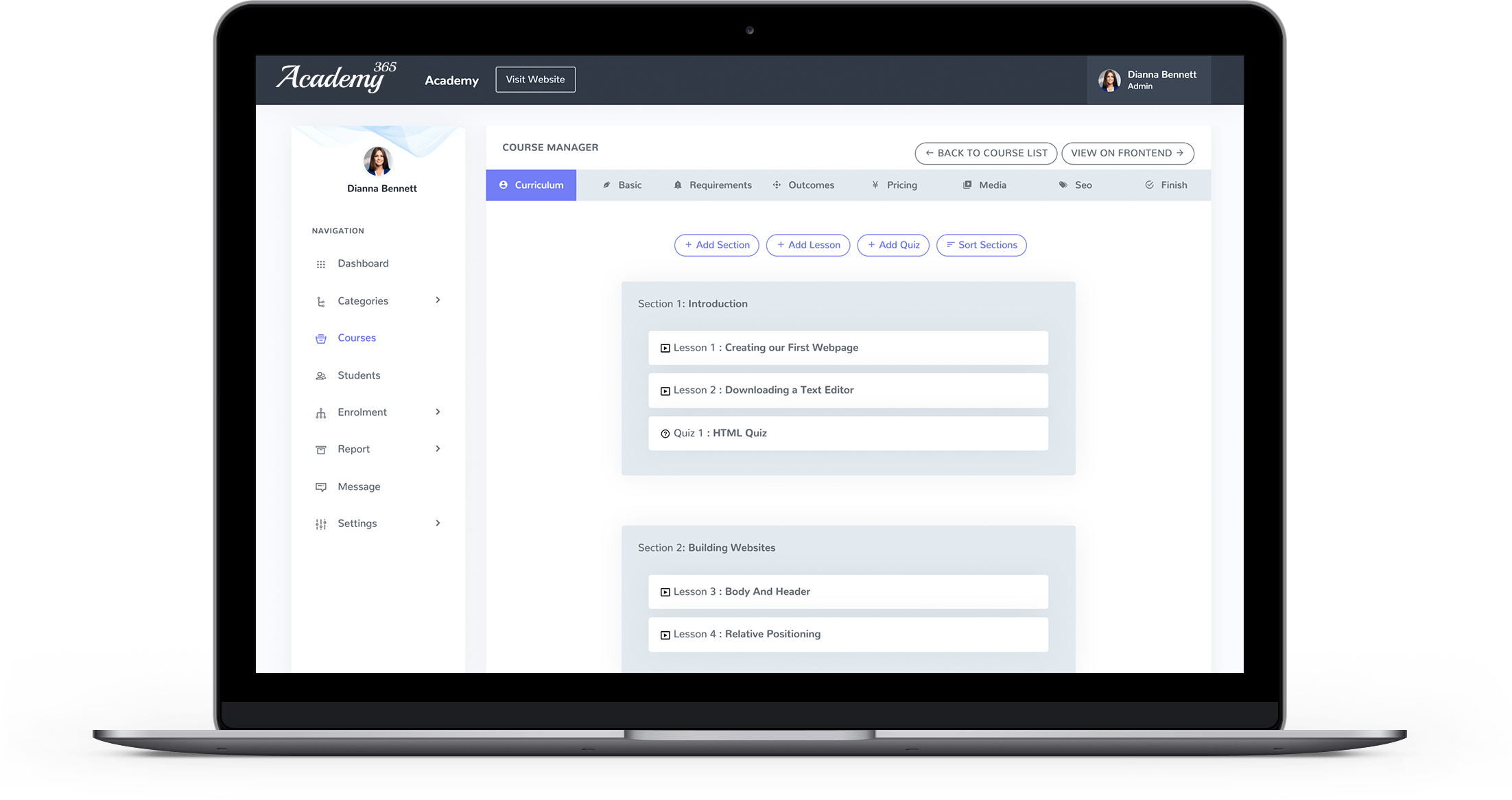 Academy 365 - Manage Lessons